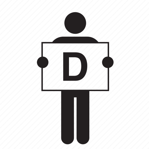 banner, board, d, letter, man, placard, sign icon