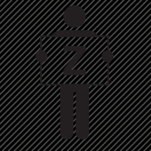 board, letter, placard, sign, z, zed, zee icon
