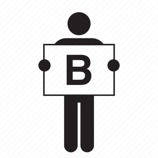 b, board, letter, man, people, placard, sign icon