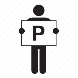 banner, board, letter, man, p, people, sign icon