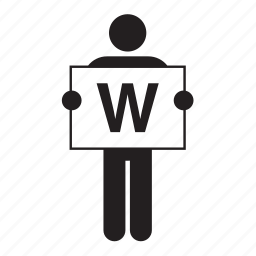 banner, board, holding, letter, man, sign, w icon