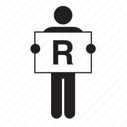 banner, board, holding, letter, man, r, sign icon