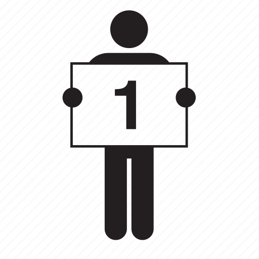 banner, board, man, number, one, placard, sign icon