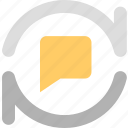 chats, discuss, informations, messages, refresh, reviews, update icon