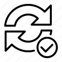 arrow, check, refresh, tick icon