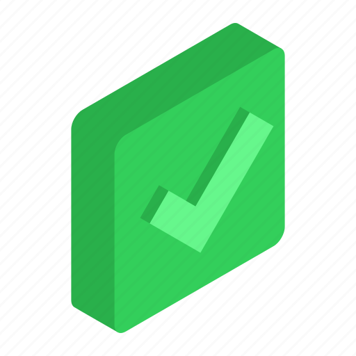 check, design, element, green, isometric, square, style icon