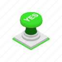 green, isometric, power, sign, start, style, yes icon
