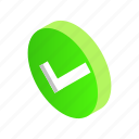 check, design, element, green, isometric, round, style
