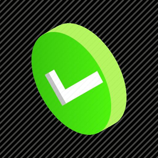 check, design, element, green, isometric, round, style icon