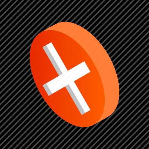 cross, design, element, isometric, round, sign, style icon