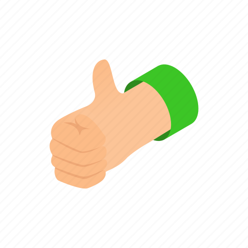 design, isometric, media, sign, style, thumb, up icon