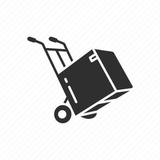 box, box on a dolly, delivery, delivery box icon