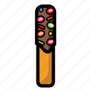 cheese, chocolate, cookies, cream, snack, stick icon