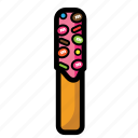 cheese, cookies, cream, snack, stick, strawberry icon