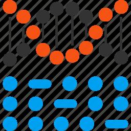 binary code, dna structure, genetic biology, genetic engineering, genetics, genome chain, spiral molecule icon