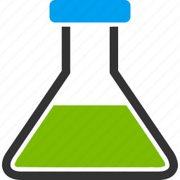 chemical glass, chemistry, green wide flask, laboratory, medical container, retort, test tube icon