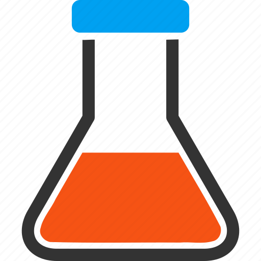 chemical glass, chemistry, laboratory, medical container, red liquid flask, retort, test tube icon