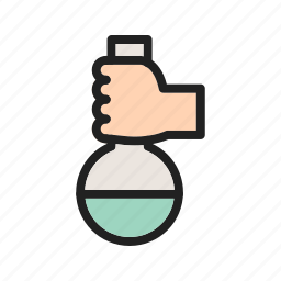 chemical, chemistry, flask, holding, laboratory, science, scientists icon