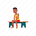 child, young, boy, basketball, player, sitting, bench, school