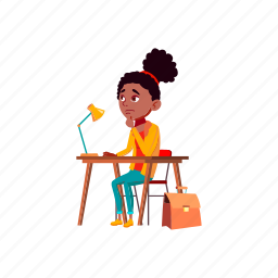 child, thoughtful, girl, sitting, desk, thinking, about, math