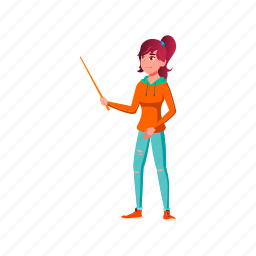 child, young, lady, teacher, pointing, blackboard, pointer, stick