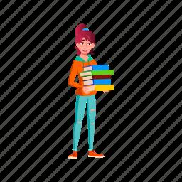 child, girl, holding, teen, heap, class, books, school