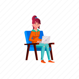 child, european, girl, teen, sitting, armchair, school, watches