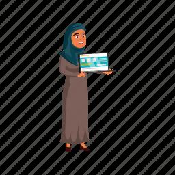 child, islam, woman, presenting, web, site, laptop, school