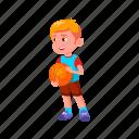 child, blond, cute, happy, sporty, boy, playing, basketball
