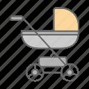 baby, baby carriage, buggy, infant, perambulator, pram, stroller icon