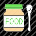 baby, feeding spoon, food, fruit puree, infant, jar, nutrition