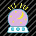 bedroom, lamp, light, moon, night, night light, stars icon
