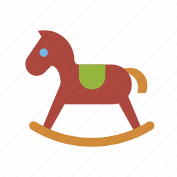 playing, rocking horse, toys icon