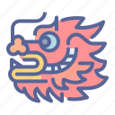 chinese, dragon, head, new year icon