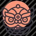 chinese, dragon, head, lion icon