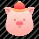 pig, chinese, head, animal, newyear, china