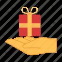 box, gift, present, hand