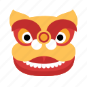 animal, avatar, chinese, dancing lion, face, new year, tradition icon