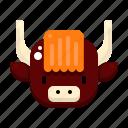 yak, chinese, new, year, animal, zodiac, bovine icon