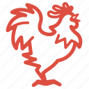 chicken, chinese, new year, rooster, traditional icon