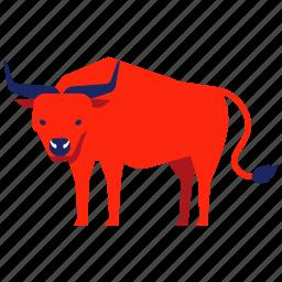 buffalo, bull, bullock, chinese zodiac, cow, ox, year icon