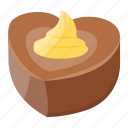 chocolate heart, creamy dessert, dark chocolate, pina colada topping, snack icon