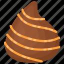butterscotch, butterscotch swirls, creamy dessert, dark chocolate, teardrop chocolate icon