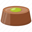 chocolate cake, chocolate fudge, dark chocolate, pistachio chocolate, snack icon