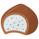 coconut filled chocolate, coconut inside chocolate, creamy dessert, dark chocolate, white cream icon