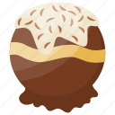 chocolate ice cream, chocolate scoop, creamy dessert, creamy ice scoop, vanilla filled with chocolate
