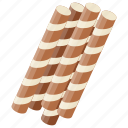 biscuit sticks, candy rolls, chocolate candy, chocolate sticks, wafers icon