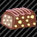 chocolate bar, chocolate cake, dark chocolate, hazelnut, nuts chocolate icon