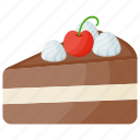 birthday cake, cake bite, cake pastry, cake slice, chocolate cake icon