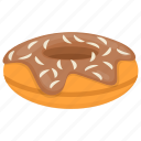 chocolate cake, chocolate donut, chocolate doughnut, creamy breakfast idea, sweet snack icon